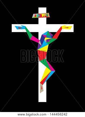 Jesus Christ on Modern Cross, art vector design