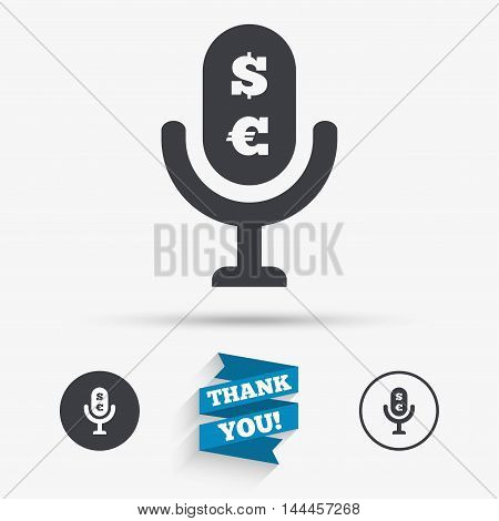 Microphone icon. Speaker symbol. Paid music sign. Flat icons. Buttons with icons. Thank you ribbon. Vector