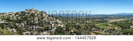 Panorama of medieval village Gordes in Provence France.