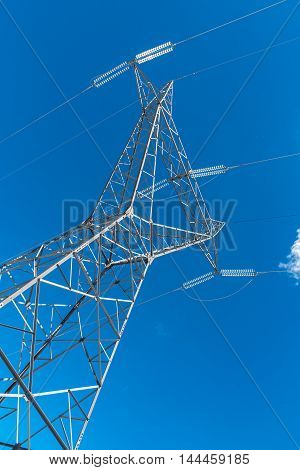 Large view on the powerline and the blue clear sky