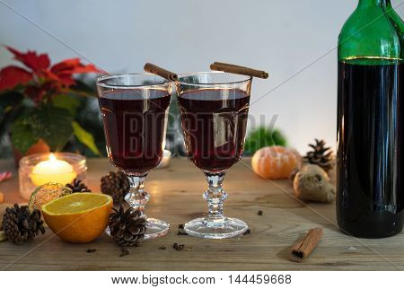 Still life with two glasses of selfmade mulled wine for Christmas