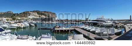 Panorama of Cassis harbor in South of France
