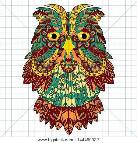 Big eagle owl. Birds. Hand drawn doodle zentangle. Ethnic patterned vector illustration. African, tribal, indian, oriental design. Sketch for adult antistress coloring page, poster, print, t-shirt
