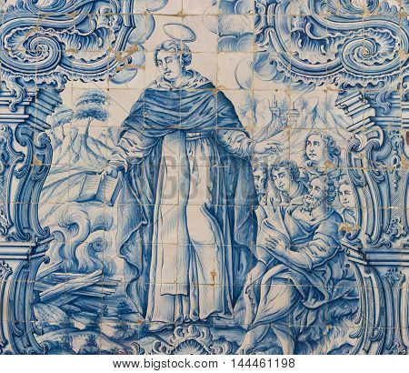 Azulejo Of Saint Dominic In The Cathedral Of Aveiro