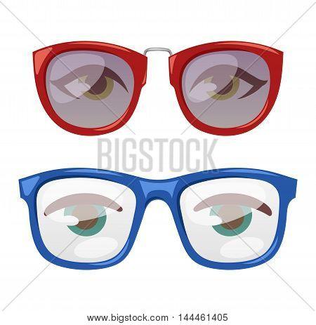 Reading glasses human eye eyesight equipment. Glasses human eye silhouette beauty eyeball people accessory. Optical black lens sight isolated glasses human eye medical fashion focus.