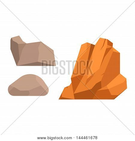 Stones and rocks in cartoon style big building mineral pile. Boulder natural rocks and stones granite rough. Vector illustration rocks and stones nature boulder geology gray cartoon material.