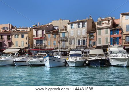 Colorful Buildings and boats in Cassis South France Provence