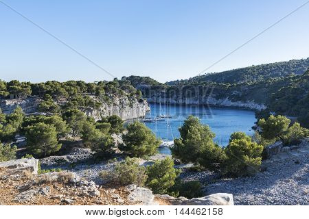 Landscape view on calanques in Cassis near Marseille Provence France.