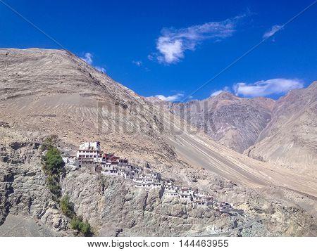 Diskit gompa - Buddhist monastery in the Nubra Valley of Ladakh Jammu & Kashmir India