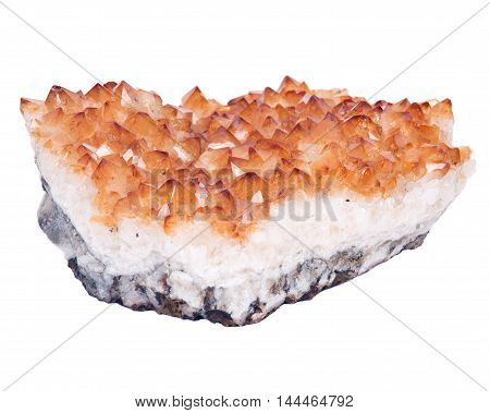 Citrine natural raw stone separated on white background