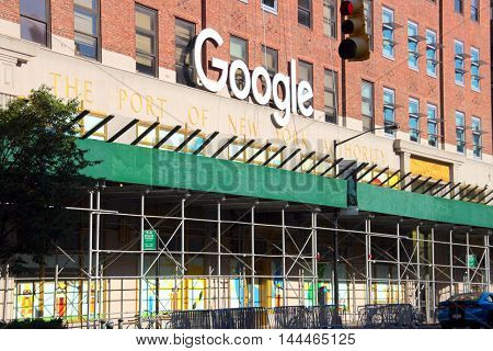 new york city, new york, august 27, 2016: in this photo we see the offices of the google corporation located in downtown new york. new york city, new york august 27, 2016