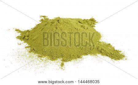 Green Tea Powder Isolated On White Background