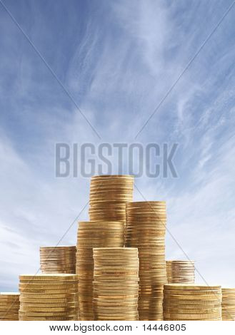 Money over sky background