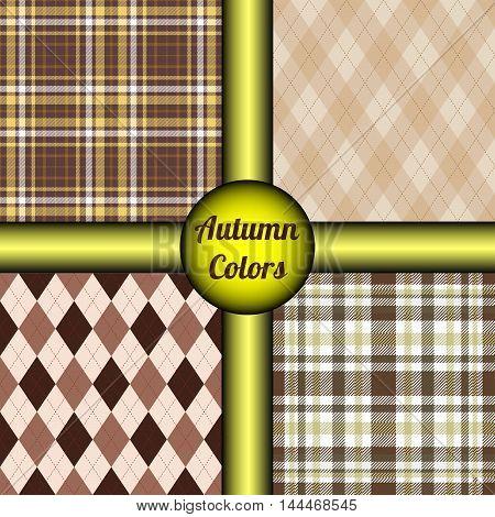 Set of four seamless patterns in traditional autumn/fall palette of brown, yellow, orange, beige, black & white. Classy argyle & tartan plaid prints for textile design, home decor & vintage gift wrap.