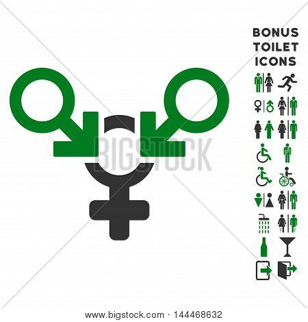 Polyandry icon and bonus man and woman WC symbols. Vector illustration style is flat iconic bicolor symbols, green and gray colors, white background.