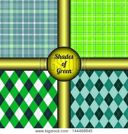 Set of four seamless patterns in shades & tints of green. Classic mix and match argyle & tartan plaid prints for textile design, interior decor, vintage gift wrap.