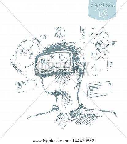 Man wearing virtual reality goggles. Hand drawn vector illustration, sketch