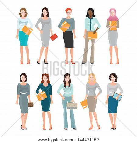 Business Women in smart suit isolated on white Diverse people of Female office workers or teamwork Cartoon character business people vector illustration.