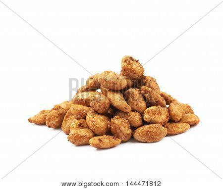 Pile of sugar coated peanuts isolated over the white background