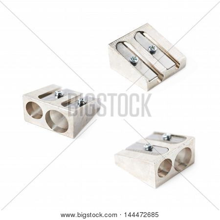 Steel metal pencil sharpener isolated over the white background, set of three different foreshortenings