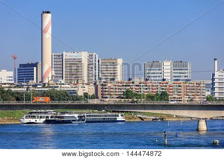 Basel, Switzerland - 27 August, 2016: view along the Rhine river. Basel is a city in Switzerland located where borders of France, Germany and Switzerland meet.