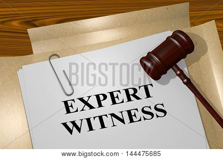 "3D illustration of ""EXPERT WITNESS"" title on legal document poster"