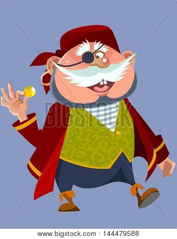 cartoon cheerful chubby man in a pirate costume