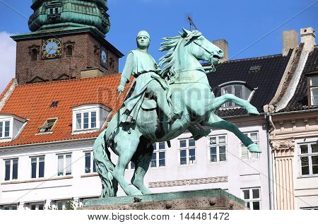 Hojbro Plads Square with the equestrian statue of Bishop Absalon and St Kunsthallen Nikolaj church in Copenhagen Denmark poster