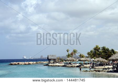 City of Willemstadt and Beach in Curacao island Caribbean Sea