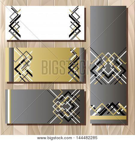 Card template in art deco outline style. Holiday background mock for banner or ticket. Golden silwer white and black luxury background template for sale. Vector illustration.