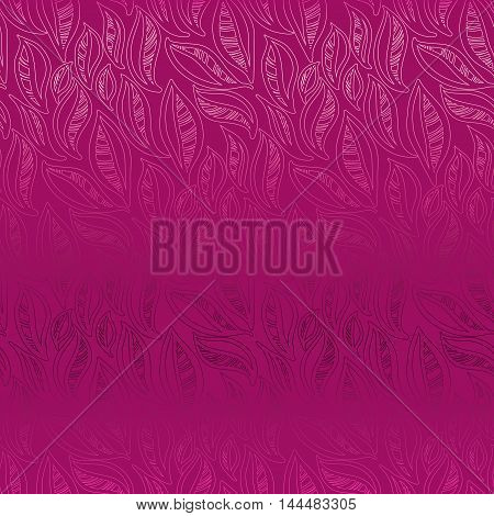 Abstract pink leaves pattern background. Spring girl concept design. Seamless linear floral pattern. Packing or wrapping paper, fabric design texture template. Vector illustration stock vector.