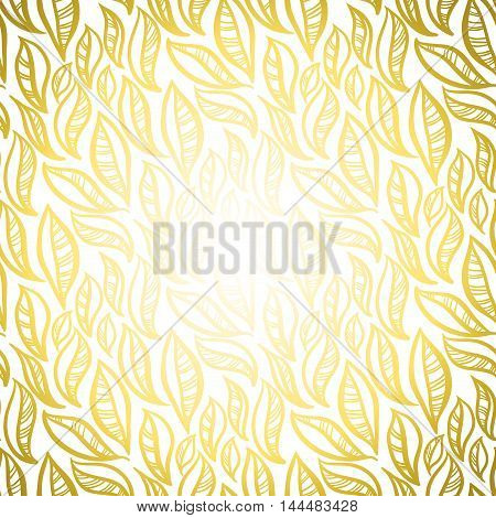 Golden abstract leaves pattern background. Seamless linear floral pattern. Gold packing or wrapping paper, fabric design texture template. Vector illustration stock vector.