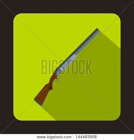 Hunting rifle shotgun icon in flat style with long shadow