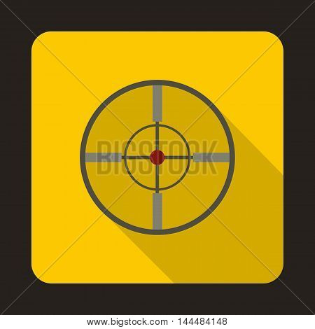 Optical sight icon in flat style with long shadow