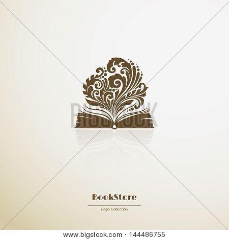 Logo bookstore. Ornate opened book icon. Vector illustration