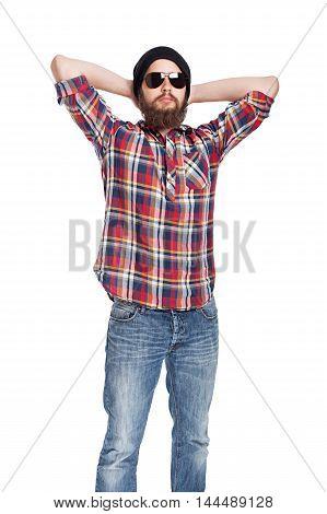 young bearded lazily looks lumberjack in studio