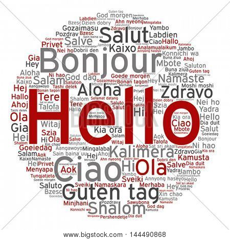 Vector concept or conceptual abstract round hello or greeting international word cloud in different languages or multilingual