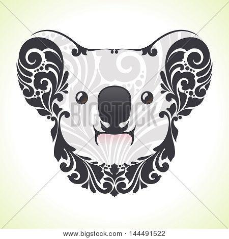 Ornamental decorative koala in color. Vector illustration