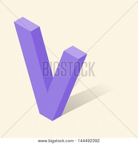 V letter in isometric 3d style with shadow. Violet V letter vector illustration