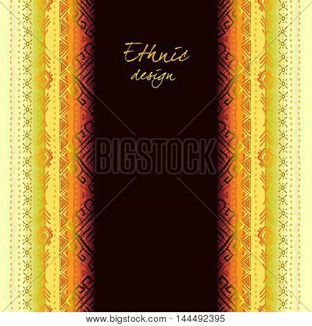 Vector tribal ornament with ethnic seamless vertical border. Striped seamless pattern. Geometric multicolor background. Vintage soft colors. Vector illustration stock vector.