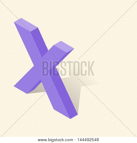 X letter in isometric 3d style with shadow. Violet X letter vector illustration