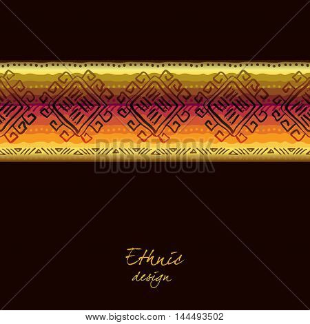 Darck horizontal seamless border with tribal stripe ornament in black background. Geometric ethnic colorful design. Vector illustration stock vector.