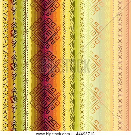 Vector tribal ornament with ethnic seamless vertical border striped seamless pattern. Geometric multicolor background. Vector illustration stock vector.