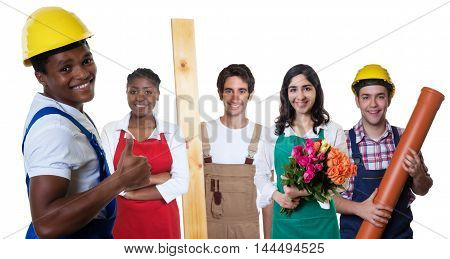 Happy african american construction worker with group of other workers on an isolated white background for cut out
