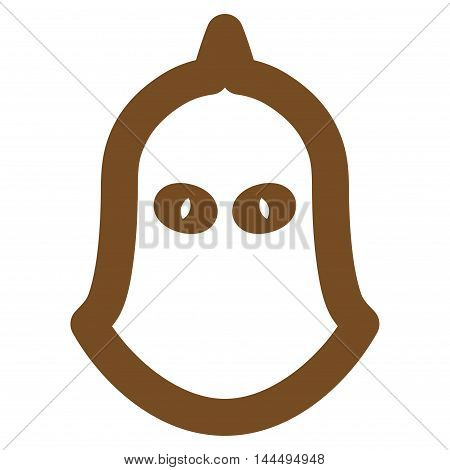 Executioner Helmet vector icon. Style is outline flat icon symbol, brown color, white background.