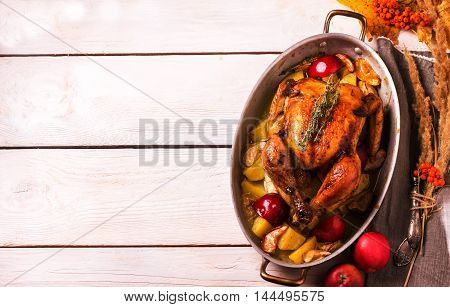 Homemade Roasted Thanksgiving Day Turkey On White Wooden Background.
