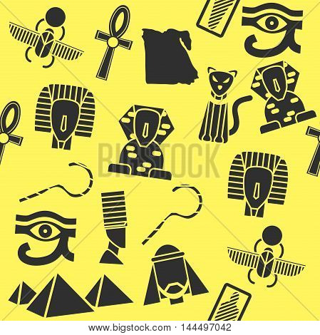Collage of vector flat design Egypt travel icons and infographics elements with landmarks and famous Egyptian symbols