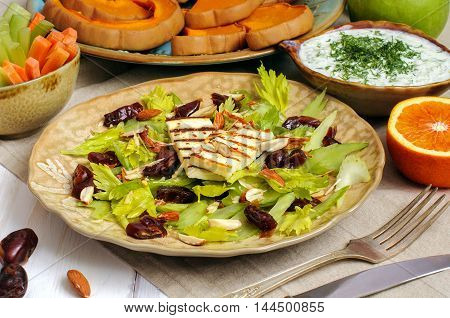 Celery Salad With Dates, Almonds And Cheese