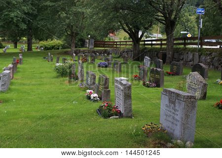 TORPO, NORWAY - JULY 2, 2016: This is typical Lutheran cementery in the Norwegian province.