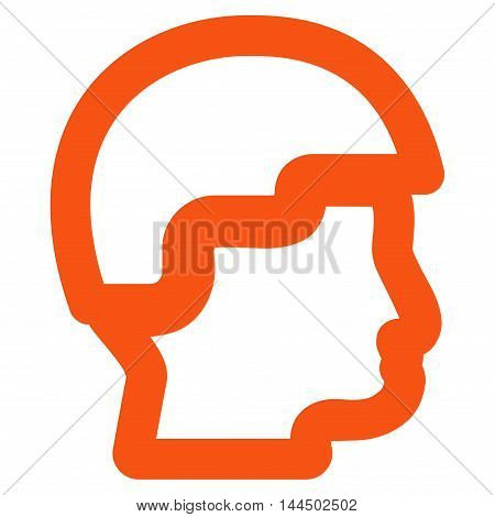 Sergeant Head vector icon. Style is linear flat icon symbol, orange color, white background.